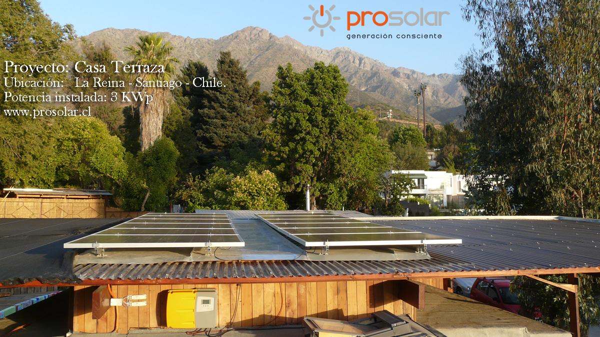 """Proyecto Solar Fotovoltaico Residencial – """"CASA TERRAZA"""" – Santiago – Chile."""